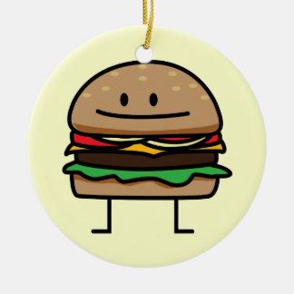 Happy Hamburger Ceramic Ornament