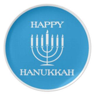 Happy Hanukah Latke Plate Menorah (Blue)