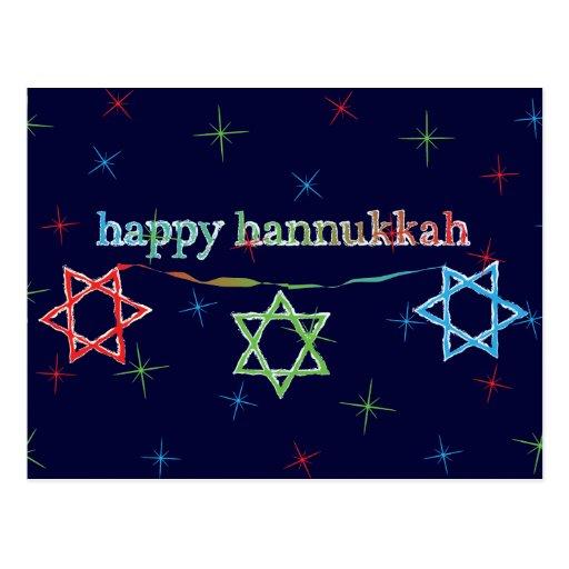 Happy Hanukkah – 3 Magen Davids Postcards