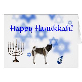 Happy Hanukkah Akita Greeting Card