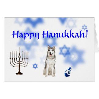 Happy Hanukkah Alaskan malamute Card