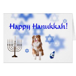 Happy Hanukkah Australian shepherd Card