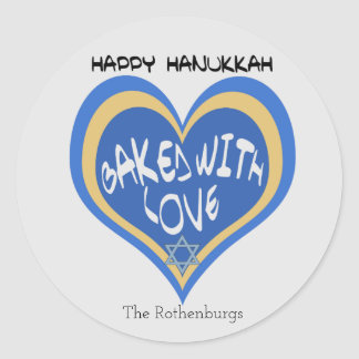 Happy Hanukkah, Baked with Love Classic Round Sticker