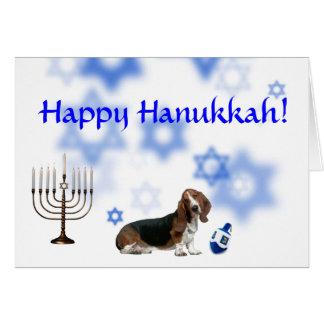 Happy Hanukkah basset hound Greeting Card