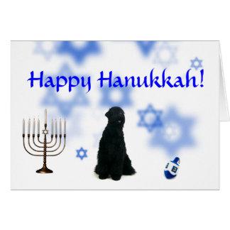Happy Hanukkah Black Russian Terrier Greeting Card