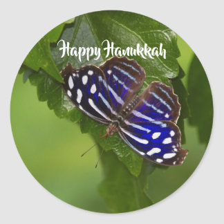 Happy Hanukkah blue and white butterfly Classic Round Sticker
