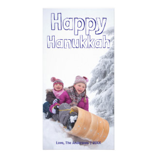 Happy Hanukkah Blue Block - Photocard Card