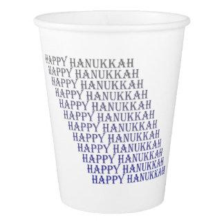 Happy Hanukkah Blue Gray Typography Paper Cup