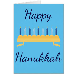 Happy Hanukkah Blue Menorah Card