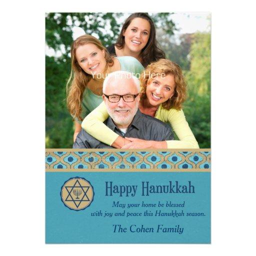Happy Hanukkah, Blue, Photo Card