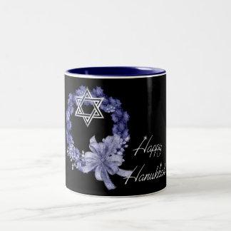 Happy Hanukkah Blue Wreath & Star Coffee/Tea Mug