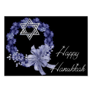 Happy Hanukkah Blue Wreath/Star Designed Print