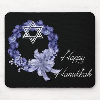 Happy Hanukkah Blue Wreath & Star Mousepad