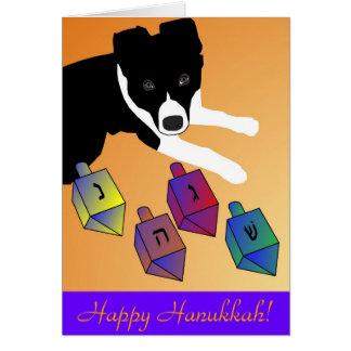 Happy Hanukkah Border Collie Dreidel Card