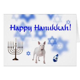Happy Hanukkah Bull terrier Cards