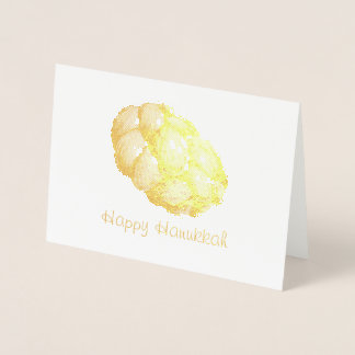 Happy Hanukkah Chanukah Jewish Holidays Challah Foil Card