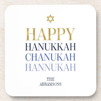 Happy Hanukkah Chanukah Plastic Coasters Set of 6