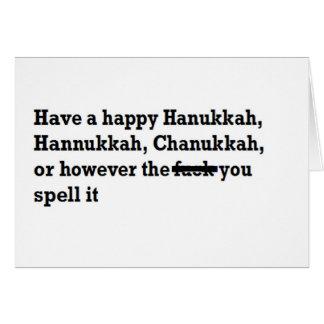happy hanukkah chanukkah spelling funny card