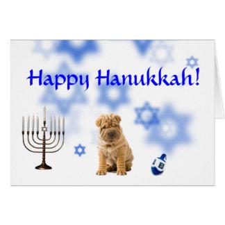 Happy Hanukkah Chinese Shar-pei Card