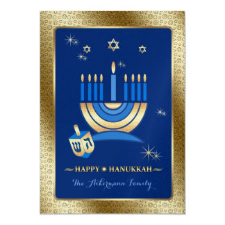 "Happy Hanukkah. Customizable Greeting Cards 5"" X 7"" Invitation Card"