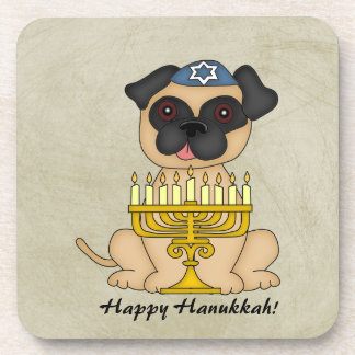 Happy Hanukkah-Cute Pug dog with Menorah Coaster