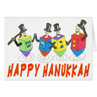 Happy Hanukkah dreidels card
