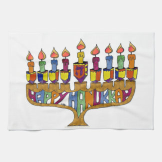 Happy Hanukkah Dreidels Menorah Tea Towel