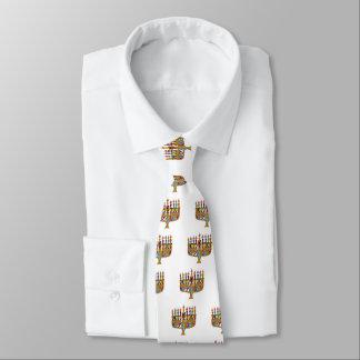 Happy Hanukkah Dreidels Menorah Tie