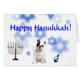 Happy Hanukkah French Bulldog Greeting Card