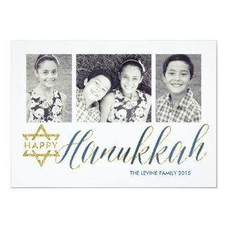Happy Hanukkah Glitter | Hanukkah Card 13 Cm X 18 Cm Invitation Card