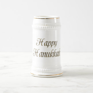 Happy Hanukkah Gold Typography Elegant Chanukah Beer Stein