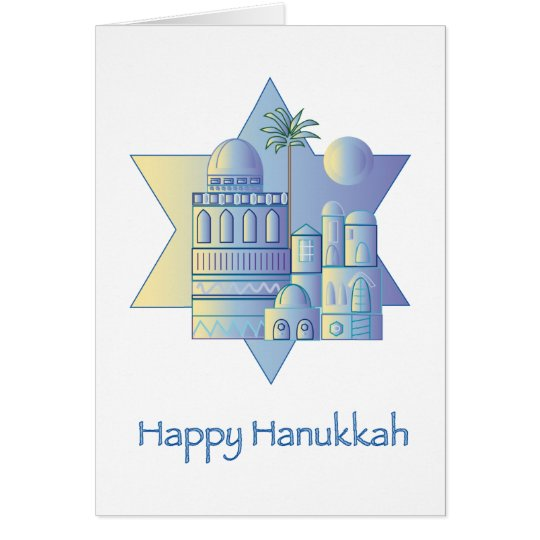 Happy Hanukkah golden Card