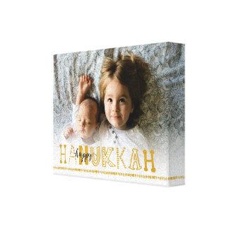 Happy Hanukkah Handwritten Photo Canvas - Gold