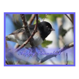 happy hanukkah happy chanukah bird junco postcards