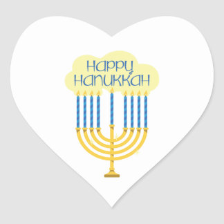 Happy Hanukkah Heart Sticker
