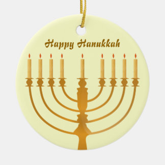 Happy Hanukkah Holiday Ceramic Ornament