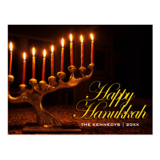 Happy Hanukkah - Illuminated Nine Candle Menorah Postcard
