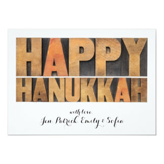 Happy Hanukkah - Isolated Words In Vintage 13 Cm X 18 Cm Invitation Card