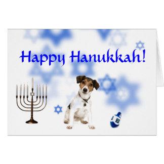 Happy Hanukkah jack russell terrier Greeting Cards