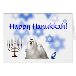Happy Hanukkah Maltese Greeting Cards