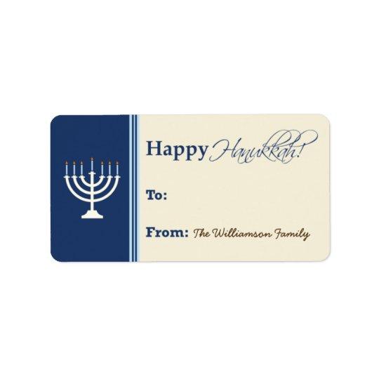 Happy Hanukkah Menorah Gift Tag (dark blue)