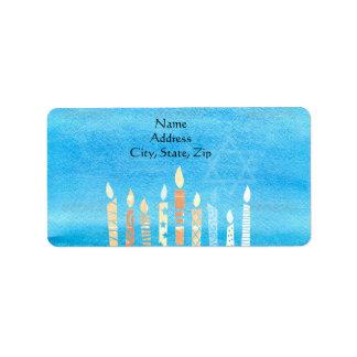 Happy Hanukkah Menorah Label