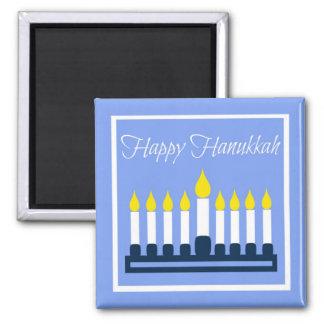 Happy Hanukkah Menorah On Blue Square Magnet