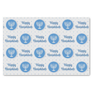Happy Hanukkah Menorah on Polka Dots Tissue Paper