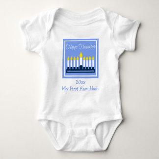 Happy Hanukkah Menorah Personalized Baby Bodysuit