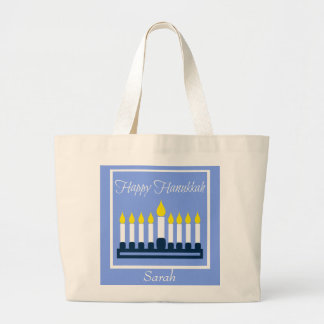 Happy Hanukkah Menorah Personalized Large Tote Bag