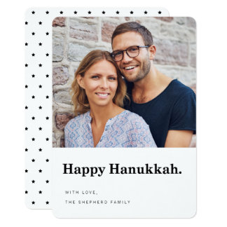 Happy Hanukkah Modern Typography Photo Card