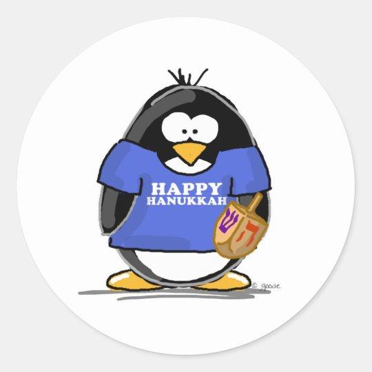 Happy Hanukkah Penguin Round Sticker