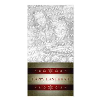 happy hanukkah customized photo card