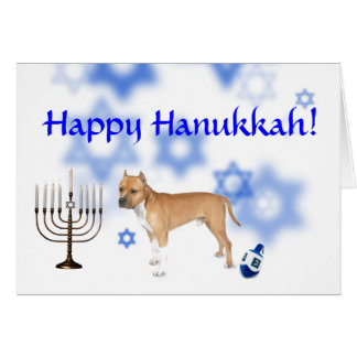 Happy Hanukkah Pitbull Greeting Card